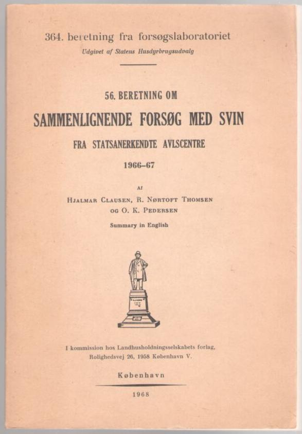 Image for Beretning om Sammenlignende Forsog med Svin fra Statsanerkendte Avlscentre (Comparative Experiments with Pig from State Recognized Breeding Centers)