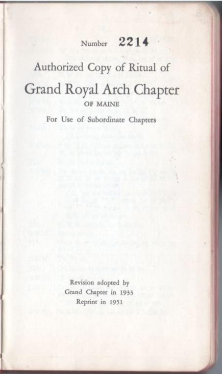 Image for Authorized Copy of Ritual of Grand Royal Arch Chapter of Maine For use of Subordinate Chapters