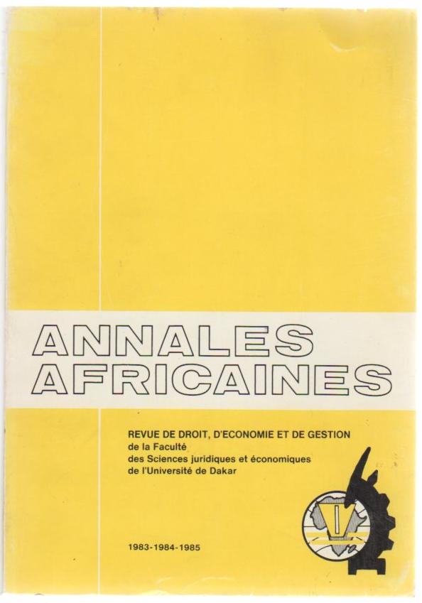 Image for Annales Africaines (1983 - 1984 - 1985)