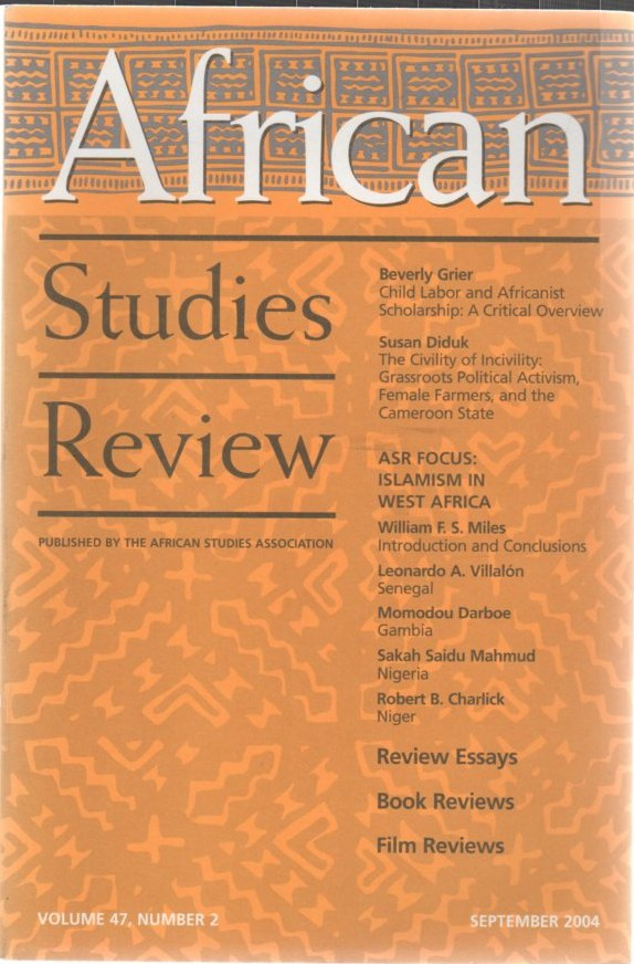 Image for African Studies Review Volume 47 Number 2 September 2004