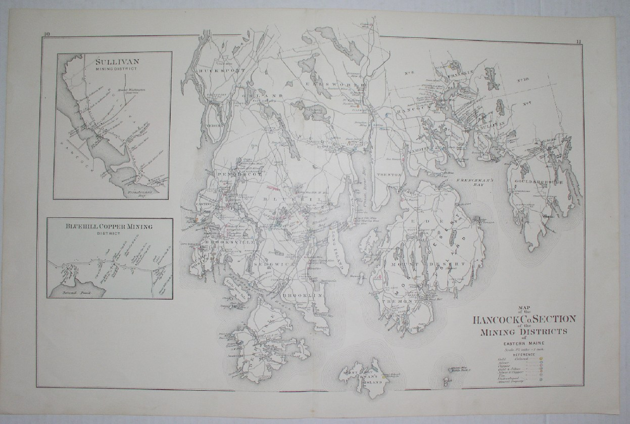 Image for Map of the Hancock Co. Section of the Mining Districts of Eastern Maine (excerpted map)